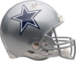 Autographed Troy Aikman Helmet - Pro Line Riddell Authentic Mounted Memories