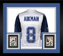 Framed Troy Aikman Dallas Cowboys Autographed White Custom Jersey