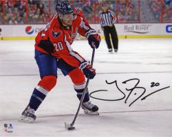 """Troy Brouwer Washington Capitals Autographed Red Jersey Shooting 8"""" x 10"""" Photograph"""