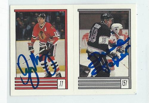 Troy Murray & Dave Taylor Signed 1989/90 O-Pee-Chee Stickers Card #11 #151