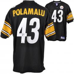 Troy Polamalu Pittsburgh Steelers Autographed Reebok Black Jersey - Mounted Memories