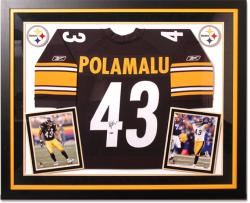 Troy Polamalu Pittsburgh Steelers Deluxe Framed Autographed Black Reebok Jersey