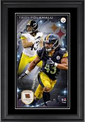 Troy Polamalu Pittsburgh Steelers 10'' x 18'' Vertical Framed Photograph with Piece of Game-Used Football - Limited Edition of 250