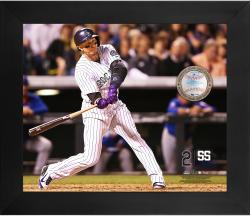 Troy Tulowitzki Colorado Rockies Framed 20'' x 24'' Gamebreaker Photograph with Game-Used Ball - Mounted Memories