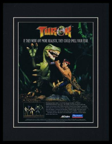 Turok Dinosaur Hunter Toys 1997 Acclaim Framed 11x14 ORIGINAL Advertisement