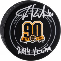 Tuukka Rask Boston Bruins Autographed 90th Anniversary Official Game Puck with 2014 Vezina Inscription