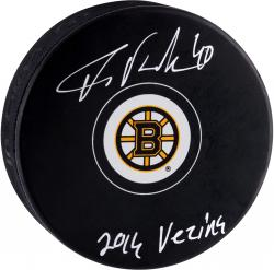 Tuukka Rask Boston Bruins Autographed Hockey Puck with 2014 Vezina Inscription