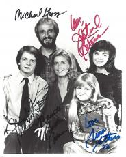 """TV Series """"FAMILY TIES"""" Signed by JUSTINE BATEMAN, MEREDITH BAXTER, MICHAEL J. FOX, TINA YOTHERS, and MICHAEL GROSS 8x10 B/W Photo"""