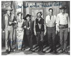 "TV Series ""GUNSMOKE"" Signed by JAMES ARNESS as MATT (Passed Away 2011), AMANDA BLAKE as KITTY (Passed Away 1989), KEN CURTIS as FESTUS (Passed Away 1991) and MILBURN STONE as DOC (Passed Away 1991) 10x8 B/W Photo"