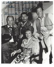 "TV Series ""GUNSMOKE"" Signed by JAMES ARNESS as MATT (Passed Away 2011), AMANDA BLAKE as KITTY (Passed Away 1989), KEN CURTIS as FESTUS (Passed Away 1991) and MILBURN STONE as DOC (Passed Away 1991) 8x10 B/W Photo"