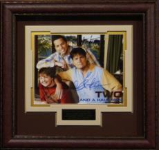 Two And A Half Men signed 11X14 Photo Leather Framed w/ Charlie Sheen, Jon Cryer & Angus T. Jones (entertainment)