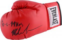 Mike Tyson Autographed Red Everlast Boxing Glove with 50-6, 44 KOS Inscription