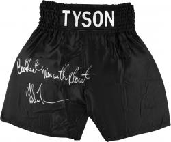 "Mike Tyson Autographed Boxing Trunks with ""Baddest Man"" Inscription"