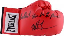 Mike Tyson Autographed Red Everlast Boxing Right Glove with Baddest Man on the Planet Inscription