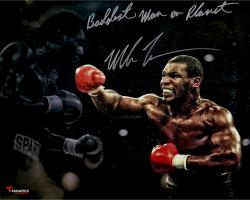 "TYSON, MIKE AUTO ""BADDEST"" (STANDING) SPOTLIGHT 16X20 PHOTO - Mounted Memories"