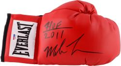 Mike Tyson Autographed Red Everlast Boxing Glove with HOF 2011 Inscription