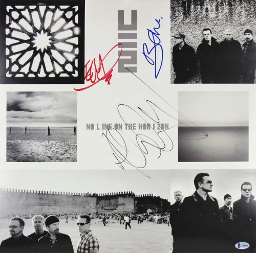 U2 (3) Bono, Edge & Clayton Signed 18x18 No Line On The Horizon Poster BAS