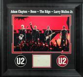 U2 (4) Bono, Edge, Clayton, Mullen Signed & Framed 3.75x5.5 Postcard BAS #A03660