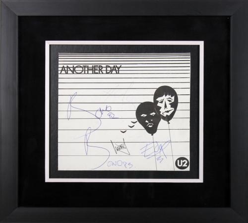 U2 (4) Bono, Edge, Clayton, Mullen Signed & Framed Another Day LP Album BAS