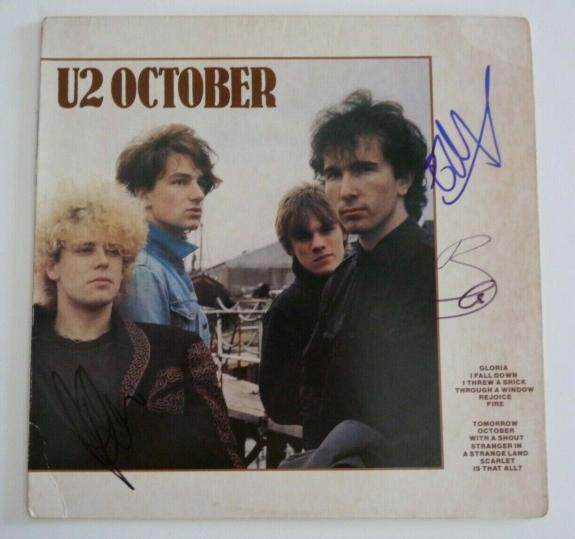 U2 Bono Edge & Adam Clayton OCTOBER Signed Autographed LP Album BAS Certified
