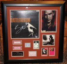 U2 Bono signed Rattle & Hum LP Record pass ticket stub FRAMED autograph PSA DNA