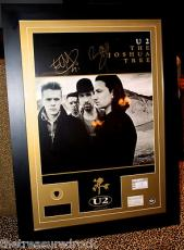 U2 Bono The Edge signed autograph poster FRAMED guitar pick ticket PSA DNA COA