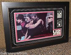 U2 RATTLE & HUM signed autographed RARE 1988 Bono Edge FRAMED VIP PASS PSA DNA