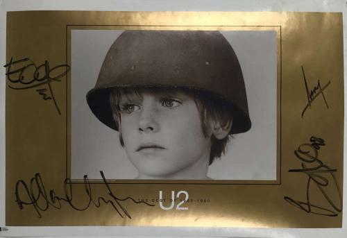 U2 Signed Autographed 28x19 Best of U2 Poster Bono Edge+2 Beckett BAS