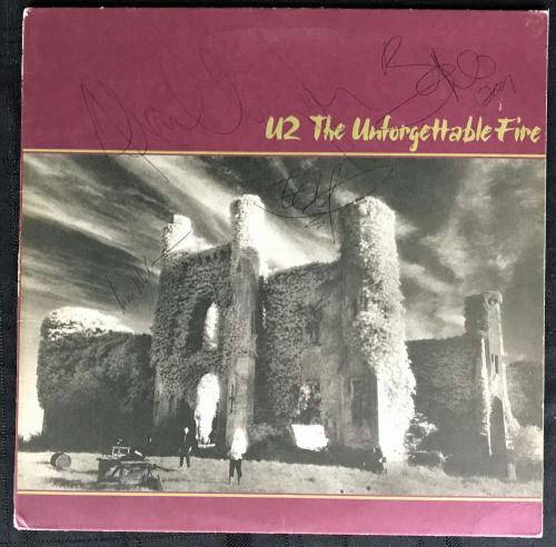 U2 Signed Autographed Unforgettable Fire Album Bono Edge Clayton Mullen JSA