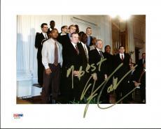 Uconn Jim Calhoun Signed 8X10 Photo w/ Bill Clinton PSA/DNA #AA20326