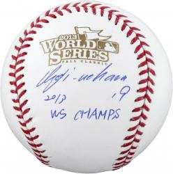 Koji Uehara Boston Red Sox 2013 World Series Champions Autographed Baseball with 13 WS Champs Inscription - Mounted Memories