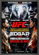 "UFC 144 Edgar vs. Henderson Framed Autographed 27"" x 39"" 24-Signature Event Poster"