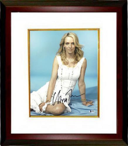 Uma Thurman signed 11x14 Photo Custom Framed (Sexy White Dress)- Beckett Holo #C88590