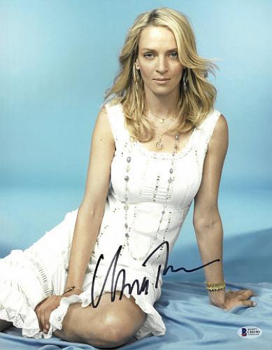 Uma Thurman signed 11x14 Photo (Sexy White Dress)- Beckett Holo #C88590