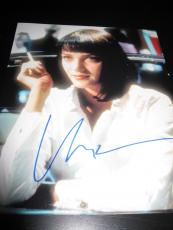UMA THURMAN SIGNED AUTOGRAPH 8x10 PHOTO PULP FICTION PROMO IN PERSON COA AUTO F