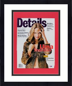 Uma Thurman Signed Matted Details Magazine Cover PSA/DNA #J00125