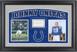 UNITAS, JOHNNY FRAMED AUTO (COLTS) HORIZONTAL PSA 3X5 SLAB - Mounted Memories