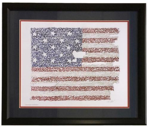 United States of America Framed 16x20 National Anthem Word Art Photo
