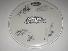 Upon a Burning Body Group Signed Drumhead Texas Blood Money Make An Offer COA