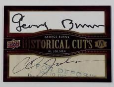 Upper Deck UD Historical Cuts GEORGE BURNS~AL JOLSON Dual Cut Autograph Auto 1/1