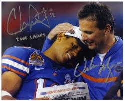 "Urban Meyer & Chris Leak Florida Gators Autographed 8"" x 10"" Photograph with ""2006 Champs"" Inscription - Mounted Memories"