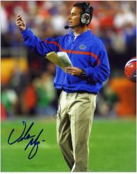 "Urban Meyer Florida Gators Autographed 8"" x 10"" with Playbook Photograph - Mounted Memories"