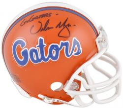 "Urban Meyer Florida Gators Autographed Mini Helmet with Inscription ""Go Gators"