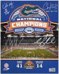 "Urban Meyer, Percy Harvin, Chris Leak, and Tim Tebow Autographed 16"" x 20"" Photograph with '06 National Champions' Inscription - Mounted Memories"