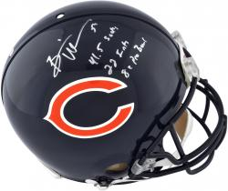 Brian Urlacher Chicago Bears Autographed Riddell Pro-Line Authentic Helmet with Multiple Inscriptions -Limited Edition of 12 - Mounted Memories
