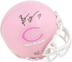 Brian Urlacher Chicago Bears Autographed Pink Riddell Mini Helmet - Mounted Memories