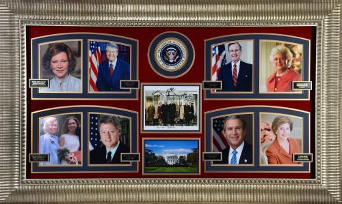 """US Presidents & First Ladies Framed Autographed 64"""" x 40"""" Collage With Bill Clinton & 8 Others  - Beckett LOA"""