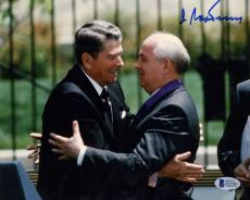 USSR Mikhail Gorbachev Signed Autographed Ronald Reagan 8x10 Photo Beckett BAS