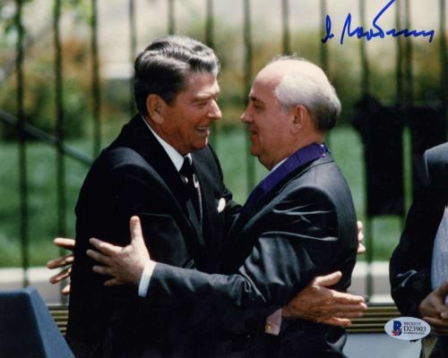 USSR Mikhail Gorbachev Signed Autographed Ronald Reagan 8x10 Photo Beckett BAS