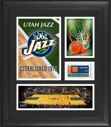 "Utah Jazz Team Logo Framed 15"" x 17"" Collage with Team-Used Baseketball"
